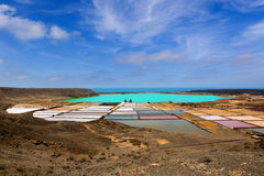 Lanzarote saltworks salinas de Janubio. Colorful  Canary Islands Royalty Free Stock Photos