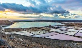 Lanzarote saltworks salinas de Janubio colorful Canary Islands Stock Image