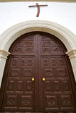 Lanzarote  spain canarias    church door and white wall abstract Royalty Free Stock Photo