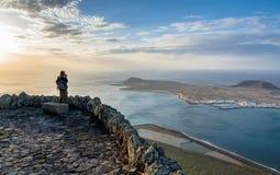 Panoramic view from El Mirador del Rio, Lanzarote. Canary Island Royalty Free Stock Images