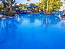 Lanzarote, Spain;10 February 2019 ;Complex swimming pool stock image