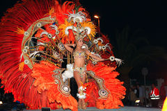 LANZAROTE, SPAIN - March 2: The Carnival Queen in costumes at th Royalty Free Stock Photography