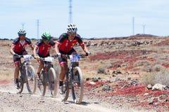 LANZAROTE, SPAIN - MAY 03: Mariano Aguado N21, Antonio Acosta N1. 8 in action at Adventure mountain bike marathon Ultrabike Santa Rosa May 03, 2015. Lanzarote Royalty Free Stock Photo