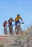 LANZAROTE, SPAIN - MAY 03: Oscar de Leon N69, Leon Martin N83, A. Ndres Serrano N206 in action at Adventure mountain bike marathon Ultrabike Santa Rosa May 03 Stock Images
