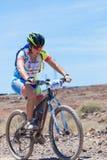 LANZAROTE, SPAIN - MAY 03: Regina Santana (N354) in action at Ad. Venture mountain bike marathon Ultrabike Santa Rosa May 03, 2015. Lanzarote, Canaries islands Royalty Free Stock Photography