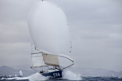 LANZAROTE, SPAIN - OCTOBER 31: Edouard Golbery with sail boat 51 Stock Photo