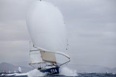 LANZAROTE, SPAIN - OCTOBER 31: Edouard Golbery with sail boat 51 Stock Photo