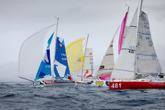 LANZAROTE, SPAIN - OCTOBER 31: Start of sailing races Mini Trans Royalty Free Stock Photography