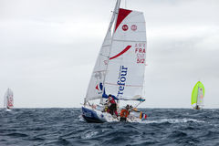 LANZAROTE, SPAIN - OCTOBER 31: Thomas Guichard with sail boat 51 Stock Photography