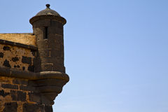 Lanzarote  spain the old wall castle  sentry tower and slot in Royalty Free Stock Photos