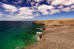 Lanzarote, Spain - View of a beautiful bay and beach at the Play Royalty Free Stock Photos
