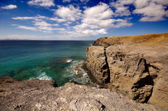 Lanzarote, Spain - View of a beautiful bay and beach at the Play Stock Images