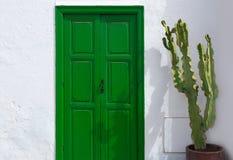 Lanzarote Teguise green door and cactus Stock Image