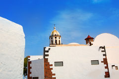 Lanzarote Teguise white village with church tower Stock Image