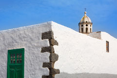 Lanzarote Teguise white village with church tower Royalty Free Stock Image