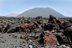 Lanzarote Timanfaya火山火山的熔岩 图库摄影