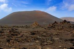Lanzarote Timanfaya火山火山的熔岩 免版税库存图片