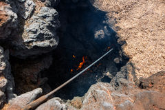 Lanzarote timanfaya cooking with volcano fire Royalty Free Stock Images