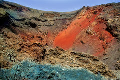 Lanzarote Timanfaya färgrik lavasten Royaltyfria Foton