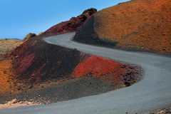 Lanzarote Timanfaya Fire Mountains road Royalty Free Stock Photos