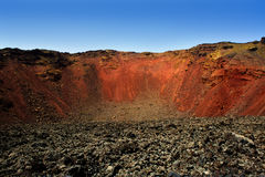 Lanzarote Timanfaya volcano crater in Canaries Royalty Free Stock Images