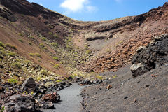 Lanzarote - Trail of the Crater de Los Cuervos, Timanfaya National Park, Canary Islands. Timanfaya National Park is entirely made up of volcanic land. UNESCO royalty free stock photo