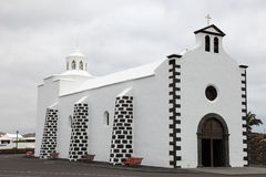 Lanzarote. Typical white church on Lanzarote island, Spain Royalty Free Stock Photo