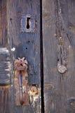lanzarote van het het kasteelslot van kloppersspanje abstract deurhout in Stock Foto
