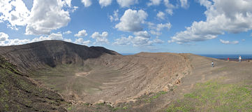 Lanzarote - View into the crater of Caldera Blanca Royalty Free Stock Photo
