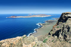 Lanzarote - View from Famara Cliff to La Graciosa Royalty Free Stock Photos
