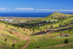 Lanzarote-Vogelperspektive, Haria-Dorf, Tal der tausend Palmen Lizenzfreies Stockbild