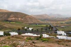 Lanzarote wyspy Femes wioski widok z lotu ptaka Zdjęcia Stock
