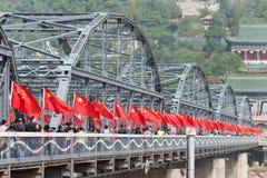 LANZHOU, CHINA - 2 DE OUTUBRO DE 2014: Ponte de Sun Yat-sen (Zhongshan Qiao) Imagens de Stock