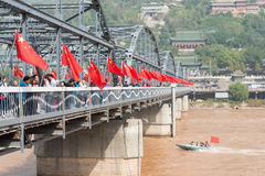 LANZHOU, CHINA - 2. OKTOBER 2014: Sun Yat-sen-Brücke (Zhongshan Qiao) Lizenzfreies Stockbild