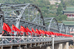LANZHOU, CHINA - 2. OKTOBER 2014: Sun Yat-sen-Brücke (Zhongshan Qiao) Stockbilder