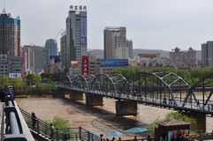 Panoramic view of the first ever iron bridge built on the Yellow River stock images