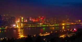 Lanzhou night scene. Lanzhou, also known as Jincheng, Lu Du, City of the Yellow River. Capital of Gansu Province, the second largest city of northwest China Stock Photo