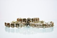 Three silver bangles Royalty Free Stock Images