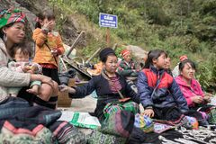 LAO CAI SAPA VIETNAM -NOV5,2017 : northern vietname hill tribe s. Itting beside road for selling hand made product in sapa town most popular traveling royalty free stock photos