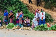 Lao Cai stam- säljande grönsak på marknaden Arkivfoto
