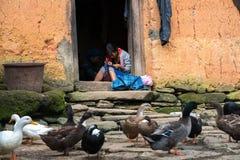 Lao Cai, Vietnam - 7 de septiembre de 2017: La muchacha étnica borda en puerta en su casa con aves de corral en la tierra en Y Ty Fotos de archivo