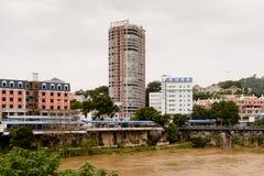 Lao Cai (Vietnam) - Ha Khau (China), één van China - Vietnam stock fotografie