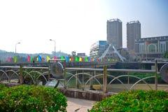 LAO CAI VIETNAM: Kina - Vietnam internationella gränser i Lao Cai, Vietnam Royaltyfri Bild