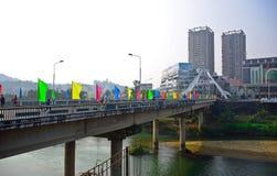 LAO CAI VIETNAM: Kina - Vietnam internationella gränser i Lao Cai, Vietnam Fotografering för Bildbyråer