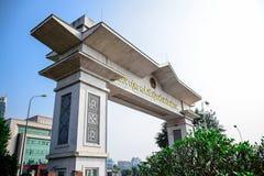LAO CAI VIETNAM: Kina - Vietnam internationella gränser i Lao Cai, Vietnam Arkivbilder