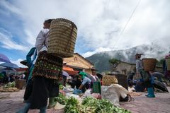 Lao Cai, Vietnam - Sep 7, 2017: Local market in Y Ty, Bat Xat district. Most ethnic minority people go to the market to sell and b. Uy local daily necessity Stock Photography