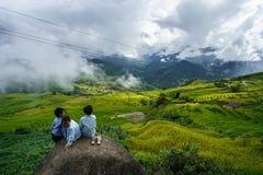 Lao Cai Vietnam - September 7, 2017: Den terrasserade risfältet på plockningsäsong med barn som sitter på, vaggar i Y Ty, det sla Royaltyfria Bilder