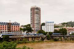 Lao Cai (Vietname) - Ha Khau (China), uma da China - Vietname fotografia de stock