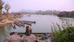 Lao cambodia border mekong river,around 4000 islands,laos stock video footage