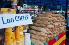 Lao coffee. Lao food  in Lao market Royalty Free Stock Photo
